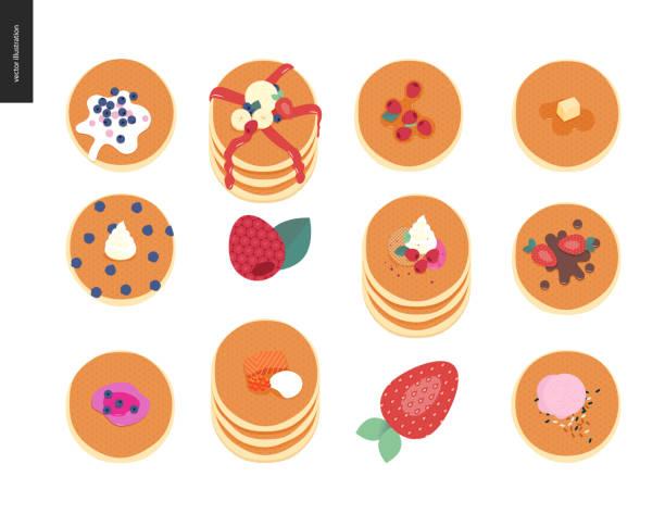 パンケーキのセット - パンケーキ点のイラスト素材/クリップアート素材/マンガ素材/アイコン素材