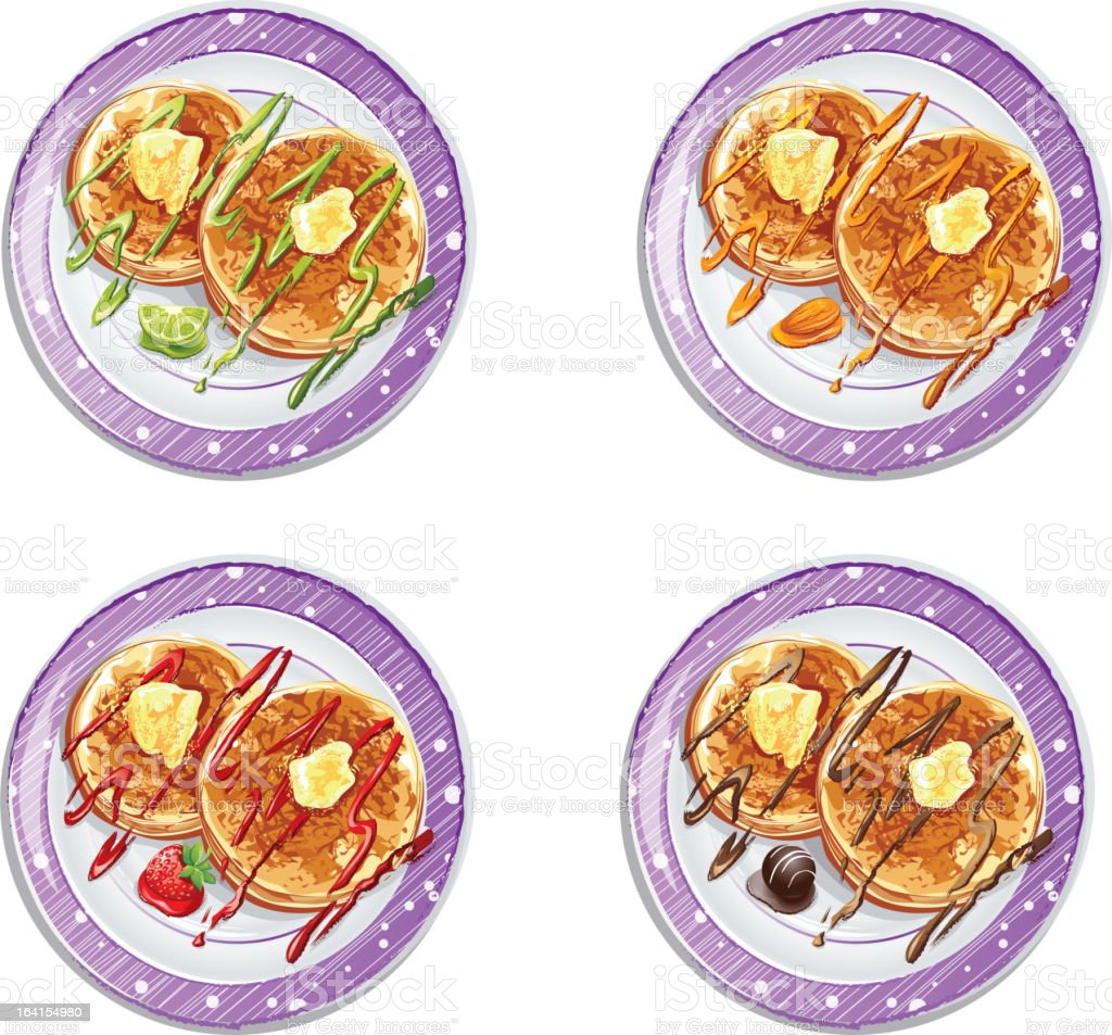 set of pancakes with sauces-EPS10 royalty-free stock vector art