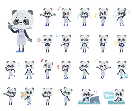 A set of Panda girl with who express various emotions