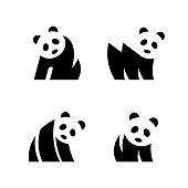 Set of Panda logo. Icon design. Template elements