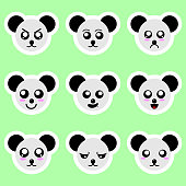 Set of panda stickers. Different emotions, expressions. Sticker in anime style. Vector Illustration for your design.