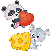 set of pandas holding a heart in their hands and a mouse holding a heart-shaped cheese in their hands, isolated object on a white background, vector illustration
