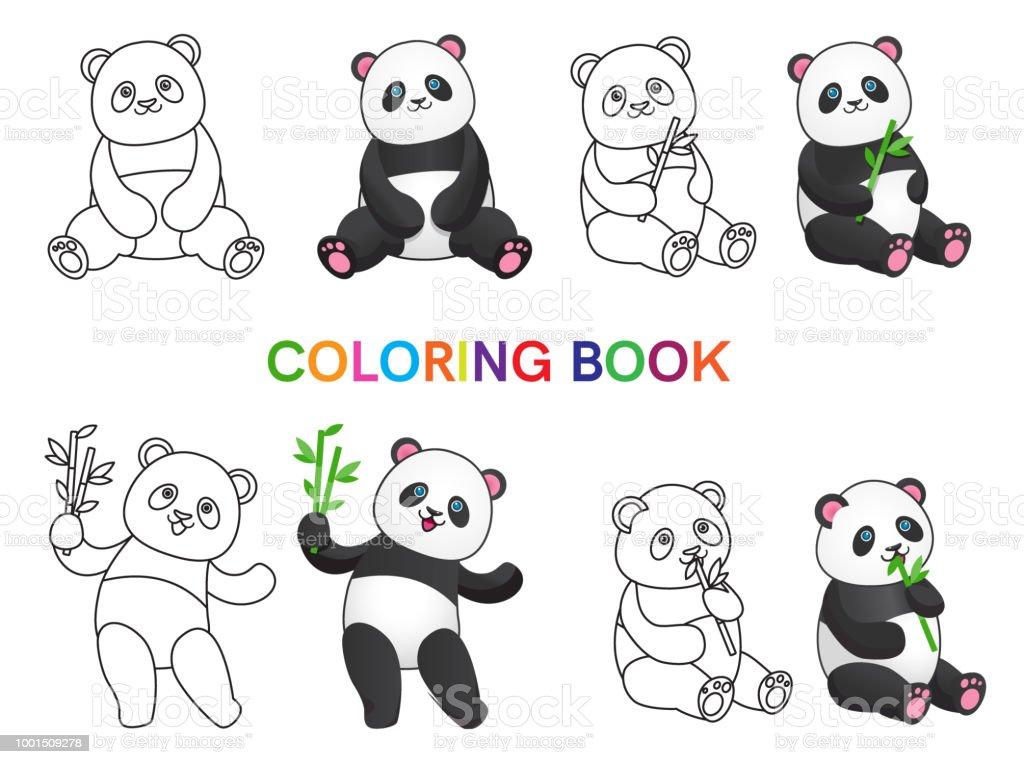 Ilustración De Conjunto De Pandas Con Bambú Para Colorear Libro Y