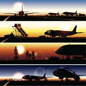 Airport Panoramic Picture, illustration contains transparency effects ,AI CS3, Contains : 1 layers, Adobe Version 10EPS