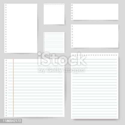 Set of paper blank with line for note, mail, shcool. Torn sheet of paper page. Square and lined paper for notice, write memo, text. Empty ripped notepaper on isolated background. vector eps10