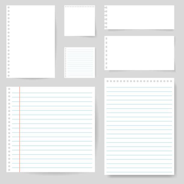 zestaw papieru puste z wierszem notatki, poczty, szkoły. rozdarty arkusz strony papieru. kwadratowy i wyłożony papierem do powiadomienia, zapisu notatki, tekstu. opróżnij zgrany papier notatek na odizolowanym tle. wektor - notes stock illustrations