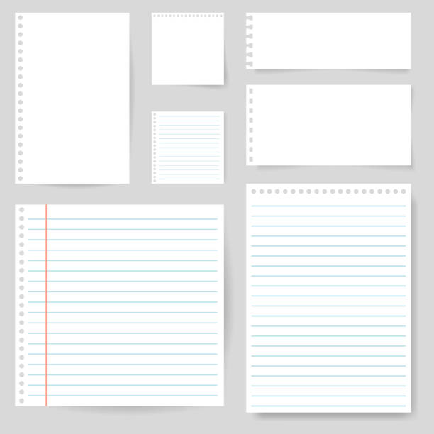 ilustrações de stock, clip art, desenhos animados e ícones de set of paper blank with line for note, mail, shcool. torn sheet of paper page. square and lined paper for notice, write memo, text. empty ripped notepaper on isolated background. vector - caderno