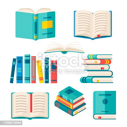 Set of paper books with colorful hard cover isolated on white background. Vector flat illustration. Pile of literature with bookmark. Design for education or reading concept.