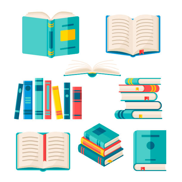 illustrations, cliparts, dessins animés et icônes de ensemble de livres en papier avec la couverture dure colorée isolée sur le fond blanc. illustration plate vectorielle. pile de littérature avec signet. - livre