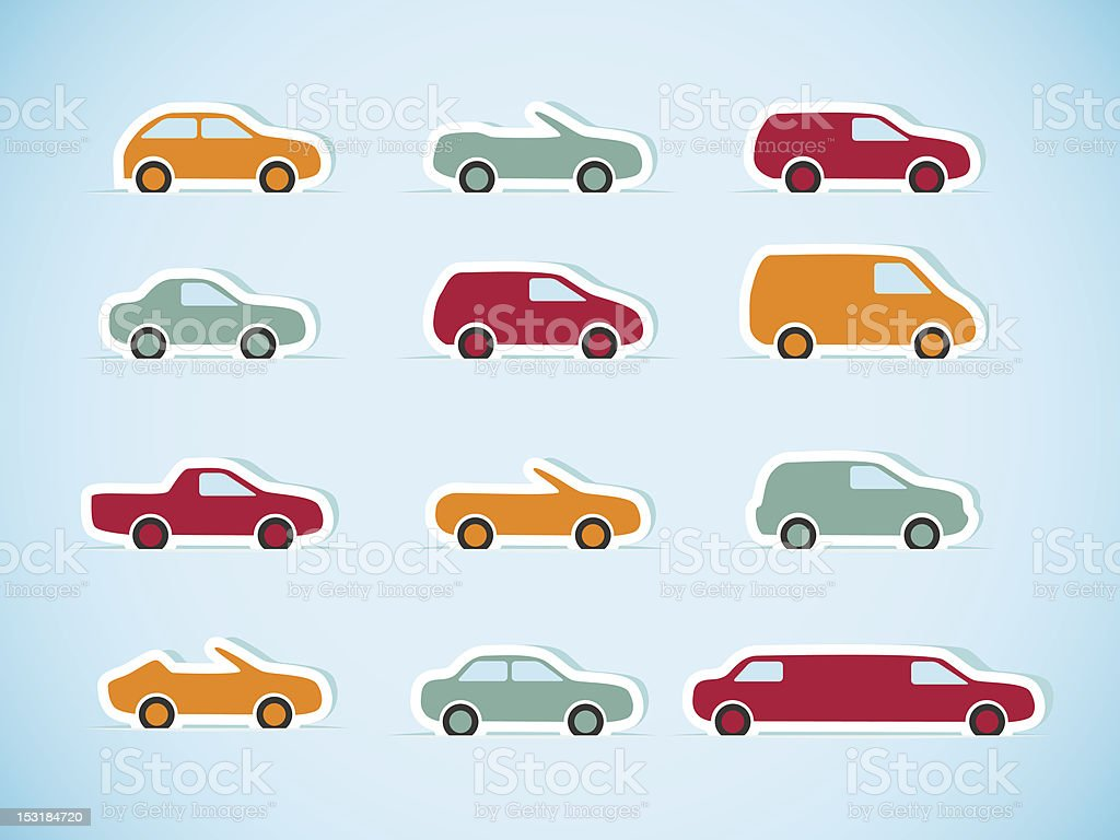 Set of paper cars royalty-free stock vector art