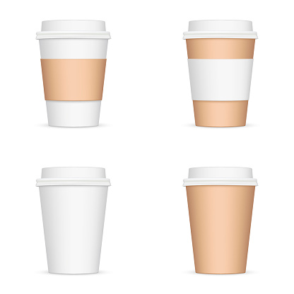 Set of paper coffee cups isolated on white background