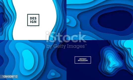 Set of four modern and trendy backgrounds. Abstract design with wave shapes in a paper cut style (blue). Background templates for your design, with space for your text. Vector Illustration (EPS10, well layered and grouped), wide format (5:3). Easy to edit, manipulate, resize or colorize. Please do not hesitate to contact me if you have any questions, or need to customise the illustration. http://www.istockphoto.com/portfolio/bgblue