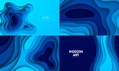 Set of four modern and trendy backgrounds. Abstract design with wave shapes in a paper cut style (blue). Background templates for your design, with space for your text. Vector Illustration (EPS10, well layered and grouped), wide format (5:3). Easy to edit, manipulate, resize or colorize.