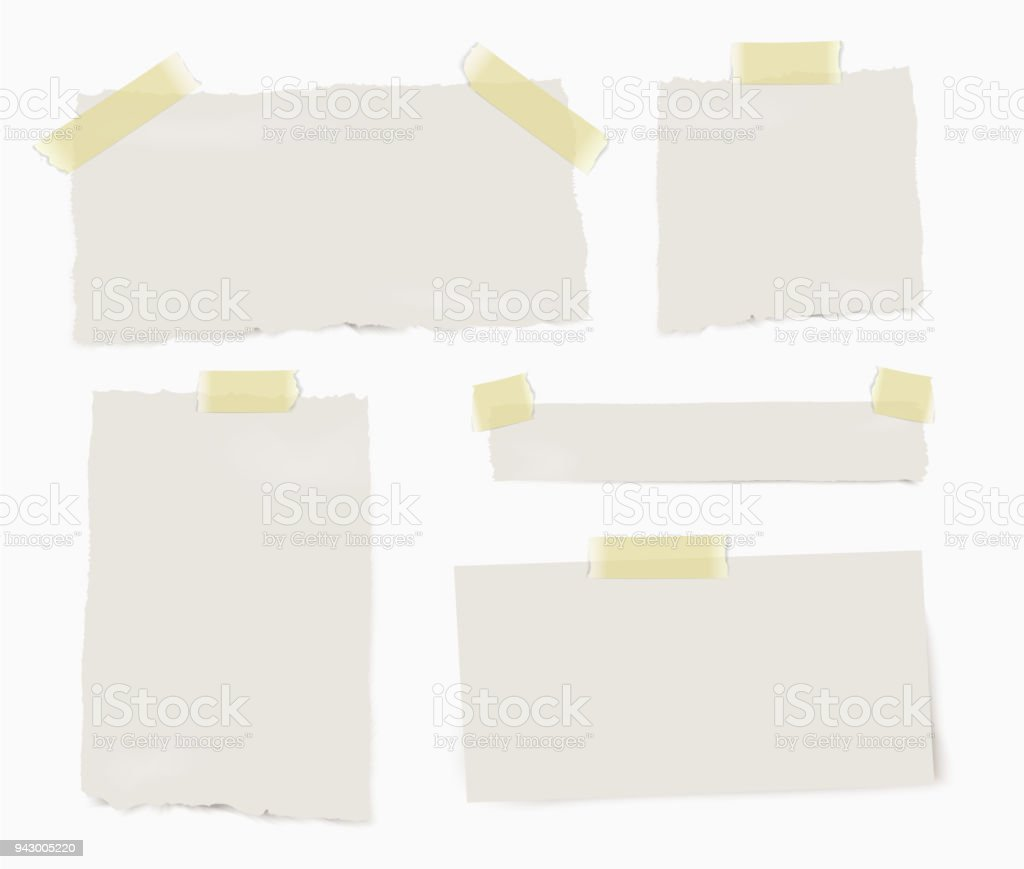 Set of paper different pieces of paper with transparent shadows isolated on white background. - Royalty-free Amarelo arte vetorial