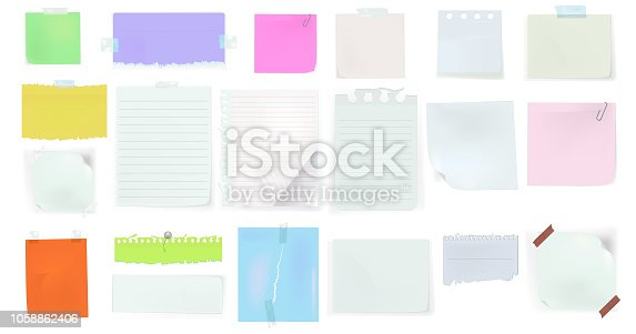 Set of paper different shapes and colors tears isolated on white background