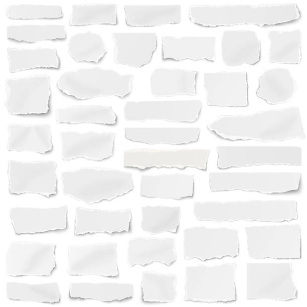 set of paper different shapes fragments isolated on white background - newspaper stock illustrations