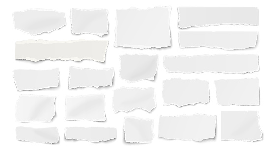 Set of paper different shapes ripped scraps, fragments, wisps isolated on white background