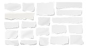 istock Set of paper different shapes ripped scraps, fragments, wisps isolated on white background 1210545223
