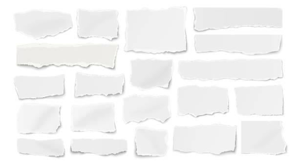 ilustrações, clipart, desenhos animados e ícones de conjunto de papel diferentes formas rasgadas sucatas, fragmentos, wisps isolados em fundo branco - papel