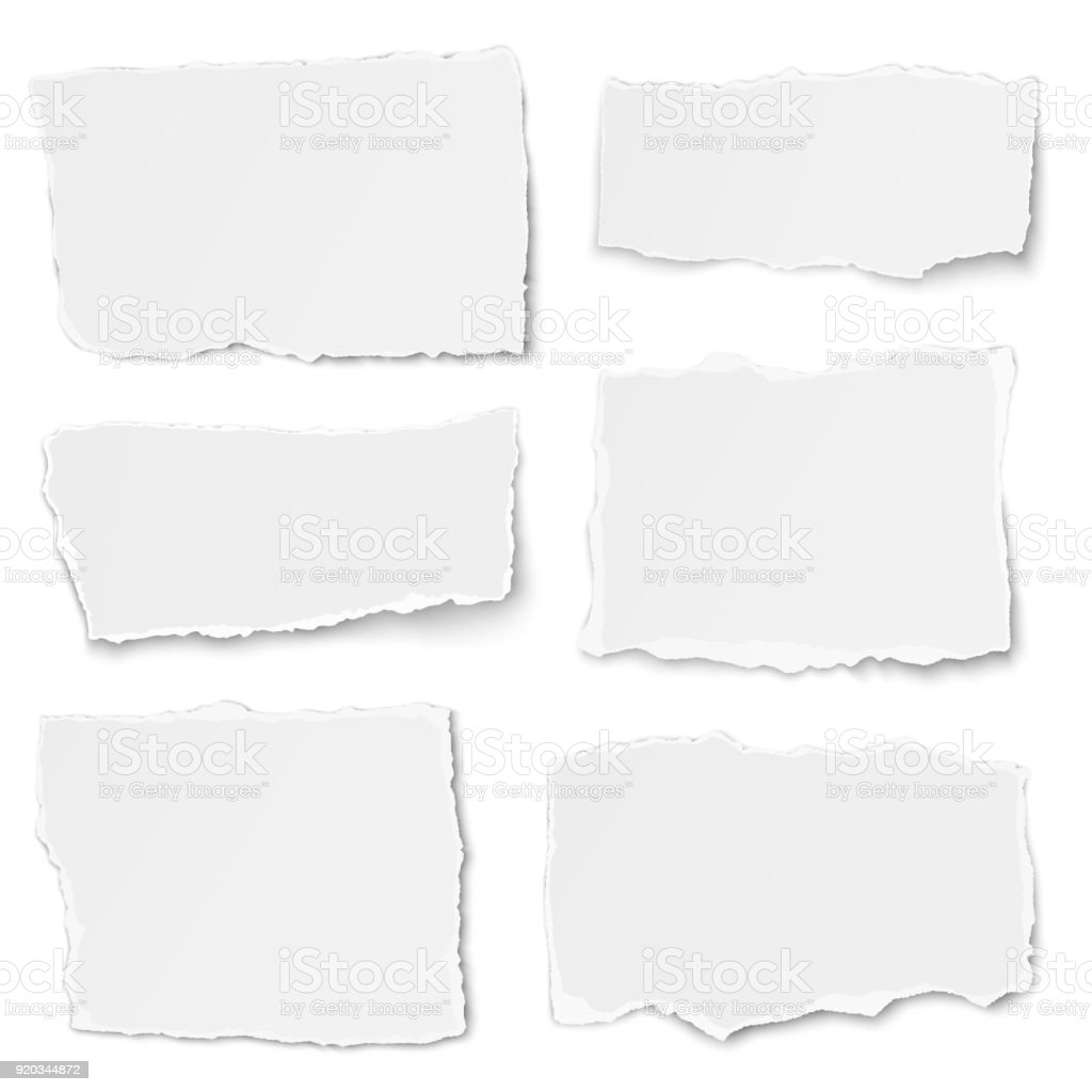 Set of paper different shapes tears isolated on white background vector art illustration