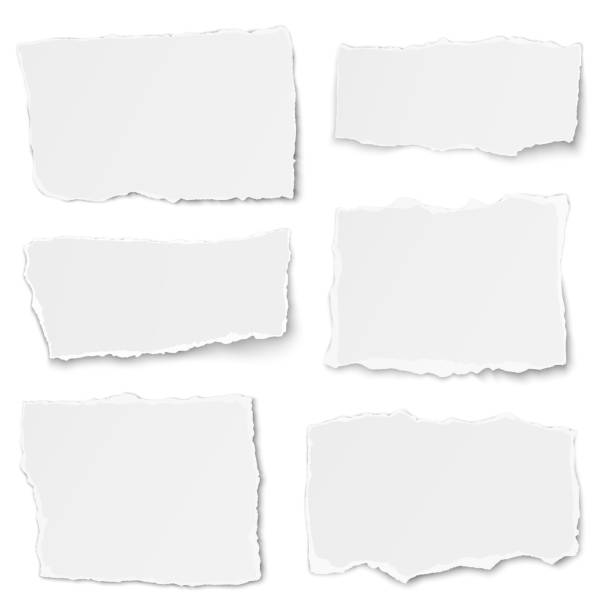 illustrazioni stock, clip art, cartoni animati e icone di tendenza di set of paper different shapes tears isolated on white background - newspaper paper