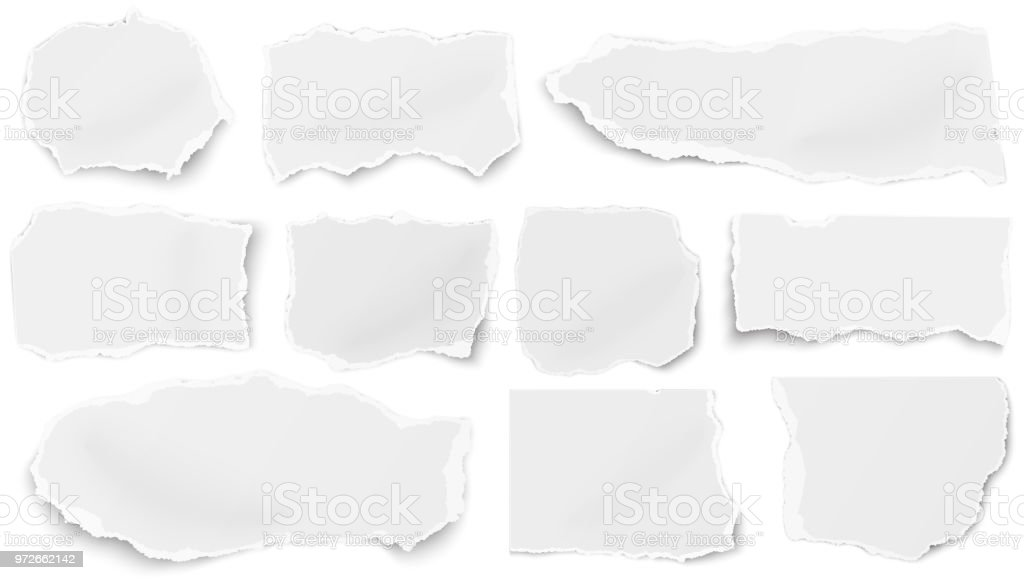 Set of paper different tears scraps isolated on white background vector art illustration