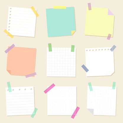 A set of paper for notes. Collection of square sheets of reminder paper. Vector isolates.