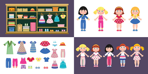 Set of paper girls dolls in different clothes. A set of clothes and shoes. Closet with clothes and accessories.
