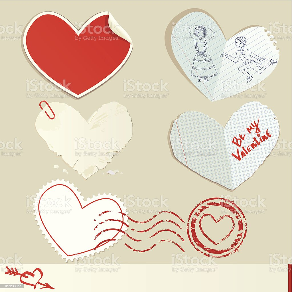 Set of paper hearts. Valentine`s Day Design royalty-free set of paper hearts valentines day design stock vector art & more images of at the edge of