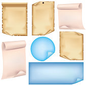 Set of old and colorful paper sheets , isolated on white background, vector illustration