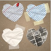 Set of paper lable in the shape of heart