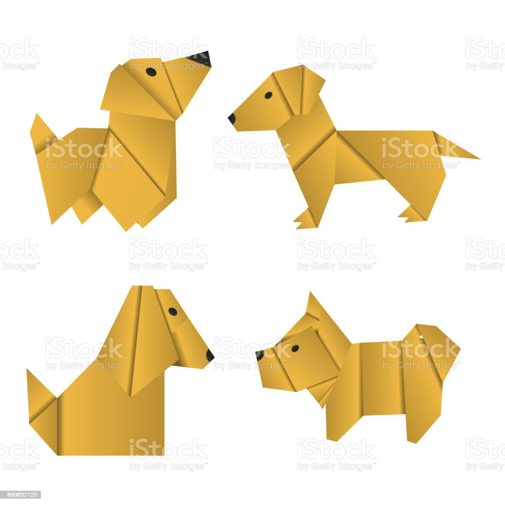 set of paper origami dogs symbol of the year 2018 stock