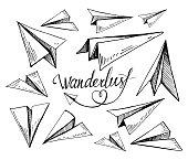 Set of paper planes. Hand drawn vector illustration