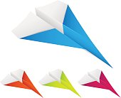 Set of paper planes on white background - vector illustration