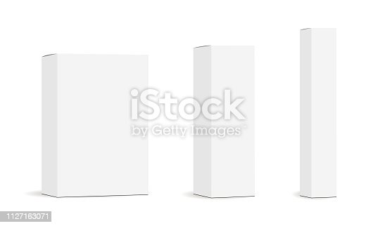 Set of paper rectangular packaging boxes mockups isolated on white background. Vector illustration