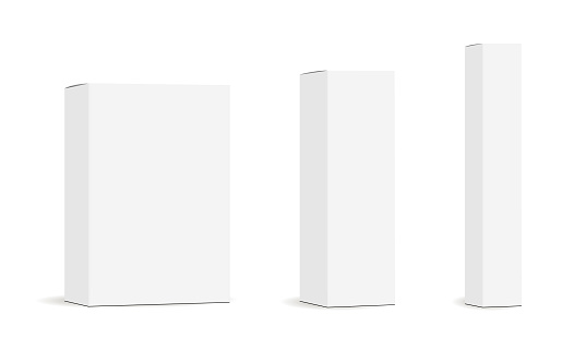 Set of paper rectangular packaging boxes mockups isolated