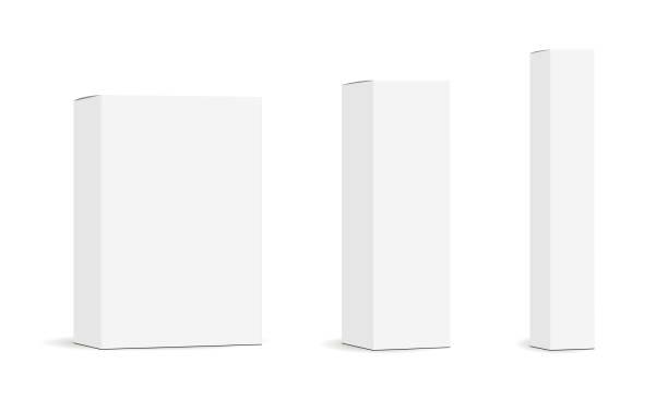 ilustrações, clipart, desenhos animados e ícones de conjunto de caixas de embalagem retangular isolados de maquetes de papel - alto descrição geral