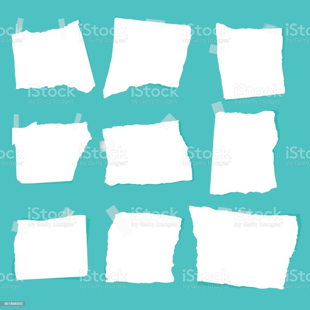 set of paper scraps vector art illustration