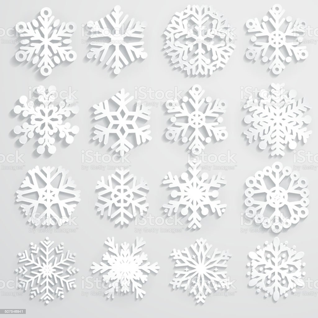 Set of paper snowflakes vector art illustration