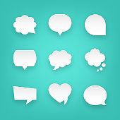 istock Set of Paper Speech Bubbles and Communication Graphic Design Elements. For Mobile and Web. 1164116077