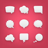 9 Paper Speech Bubbles and Communication Graphic Design Elements.