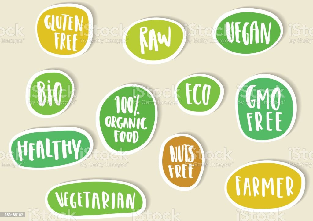 Set of paper stickers with handwritten lettering for bio, eco, organic foods and vegetables. – Vektorgrafik