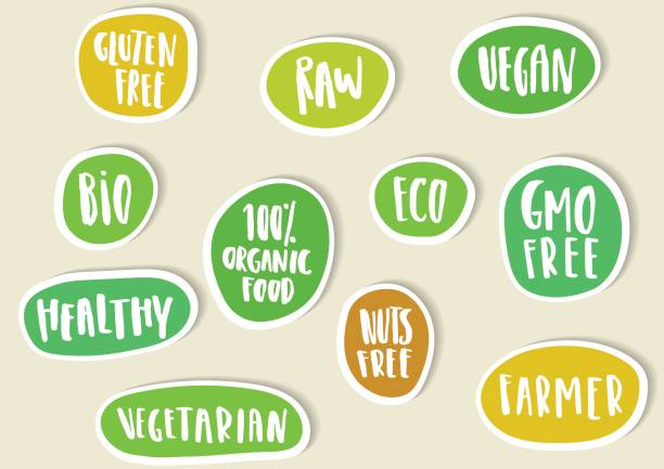 set of paper stickers with handwritten lettering for bio, eco, organic foods and vegetables. - organic stock illustrations, clip art, cartoons, & icons