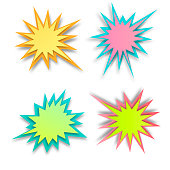 Set of paper style abstract backgrounds, bang or explosion bubbles isolated on white background