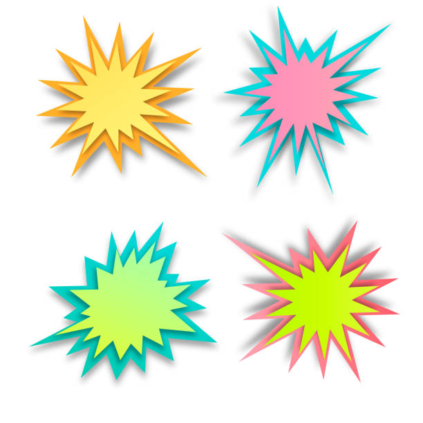 set of paper style abstract backgrounds, bang or explosion bubbles isolated on white background - flara obiektywu stock illustrations