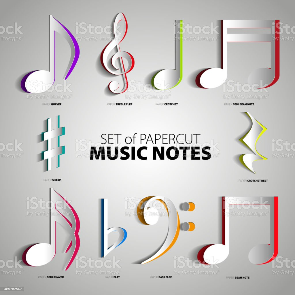 Set Of Papercut Music Notes Sticker Design Stock