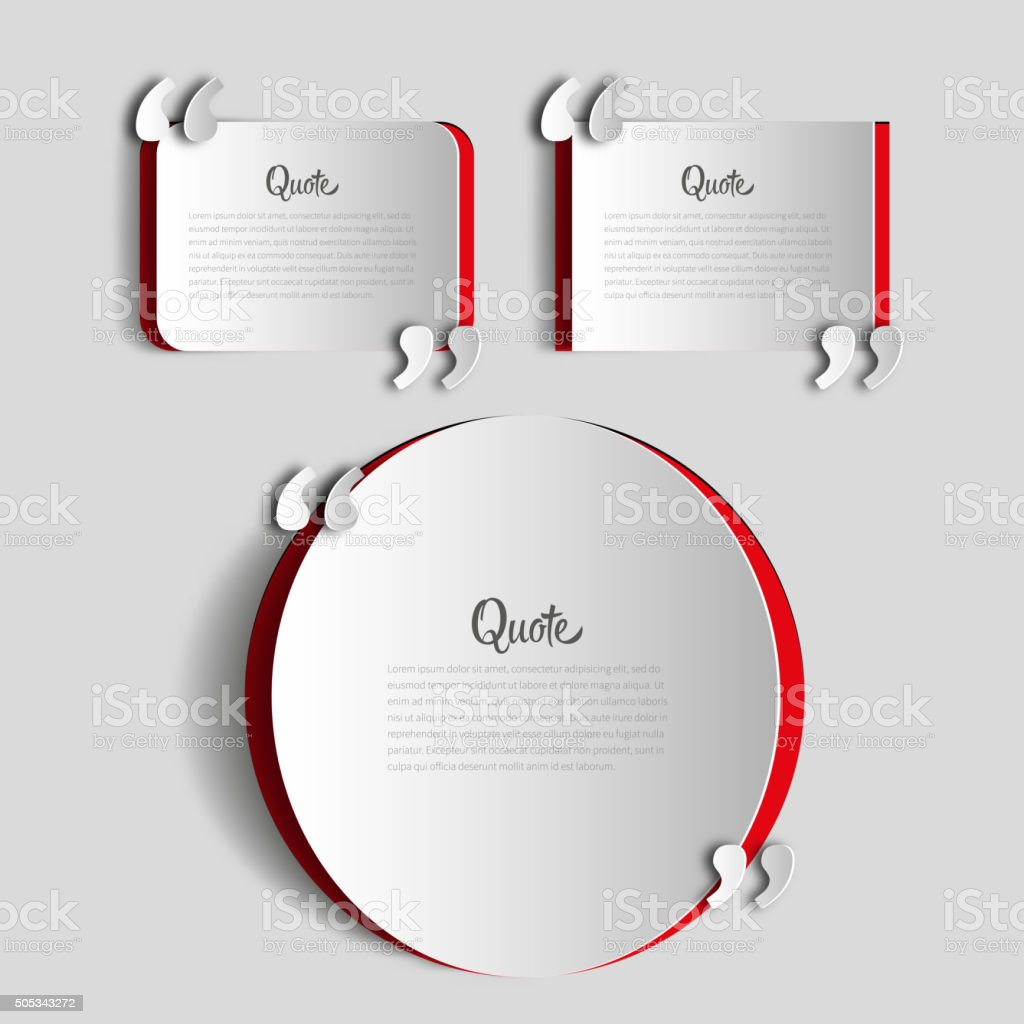 Set of papercut Quote text bubbles vector art illustration