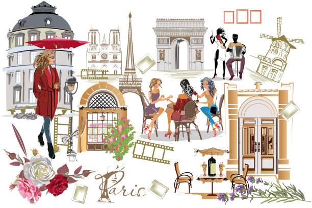 ilustrações, clipart, desenhos animados e ícones de conjunto de ilustrações de paris com as meninas da moda, cafés e músicos. - moda parisiense