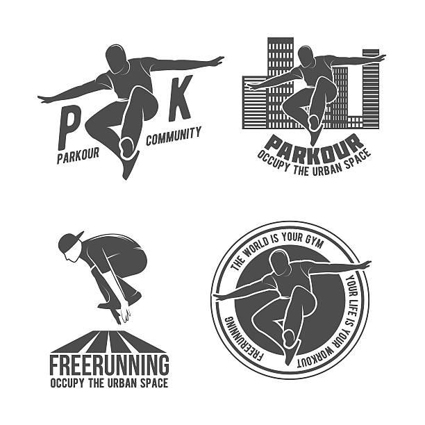 bildbanksillustrationer, clip art samt tecknat material och ikoner med set of parkour and free running badges - parkour