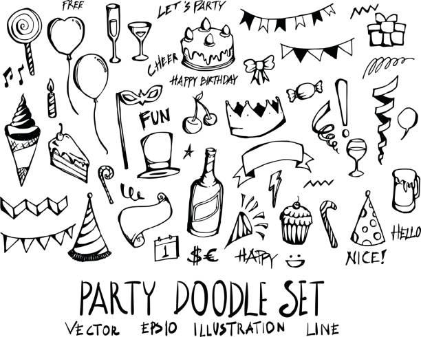 Set of party doodle illustration Hand drawn Sketch line vector eps10 Set of party doodle illustration Hand drawn Sketch line vector cartoon of birthday cake outline stock illustrations